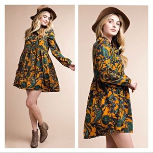 Mustard floral print long sleeve dress